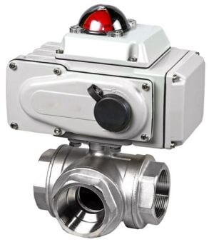 Inner thread 3 way electric ball valve